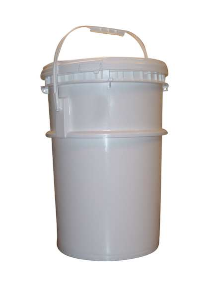 Bway Pail,  Screw Top,  Round,  6 gal,  HDPE,  White,  Used For: Solids 7J114