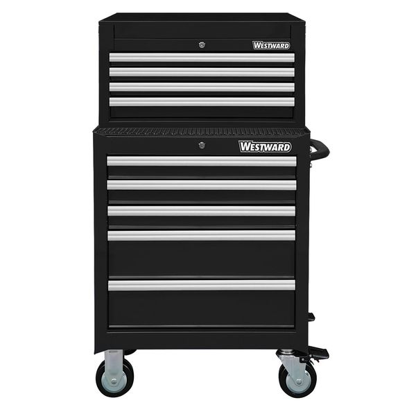 "Westward 26""W Tool Chest and Cabinet Combination 9 Drawers,  Black,  47-1/2""H 7CX98"