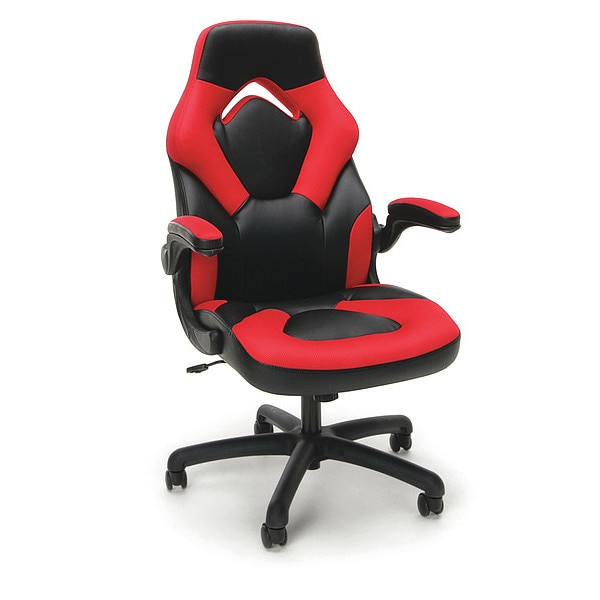 Ofm Gaming Chair,  Padded Flip-up,  Fabric: Red; Leather: Black ESS-3085-RED
