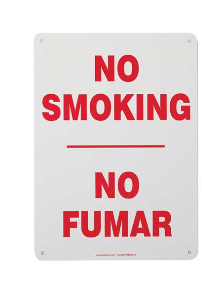 Accuform No Smoking Sign, Bilingual, 14X10, R/W SBMSMK545VS