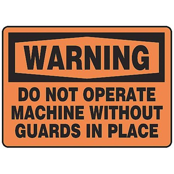 "Accuform Warning Sign, 10X14"", BK/ORN, ENG, Text MEQM332VS"
