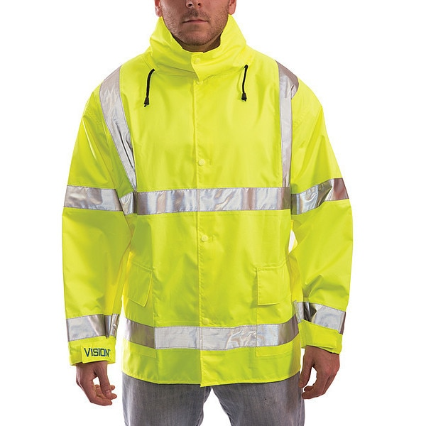 Tingley Vision Rain Jacket,  Class 3,   Type P,  Ylw/Green,  5XL J23122