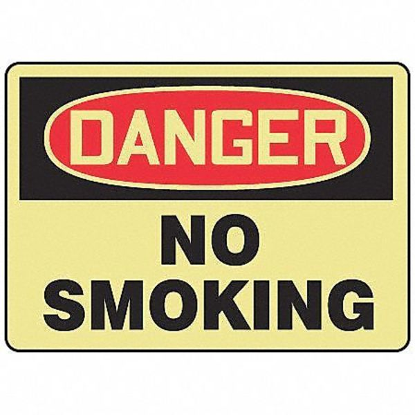 "Accuform Danger No Smoking Sign, 10X14"", ENG MSMK014GF"