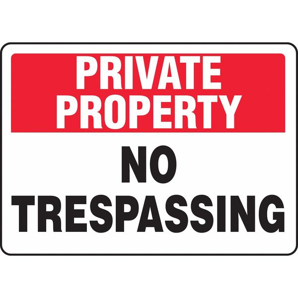 "Accuform Private Property Sign, 10""X14"", Vinyl MATR963VS"