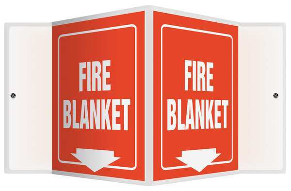 """Accuform Fire Blanket Sign, 6X8-1/2"""", WHT/R, PS PSP621"""