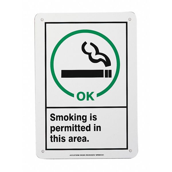 Accuform Smoking Permitted Sign, 14X10, BK/GRN MRMK500VP
