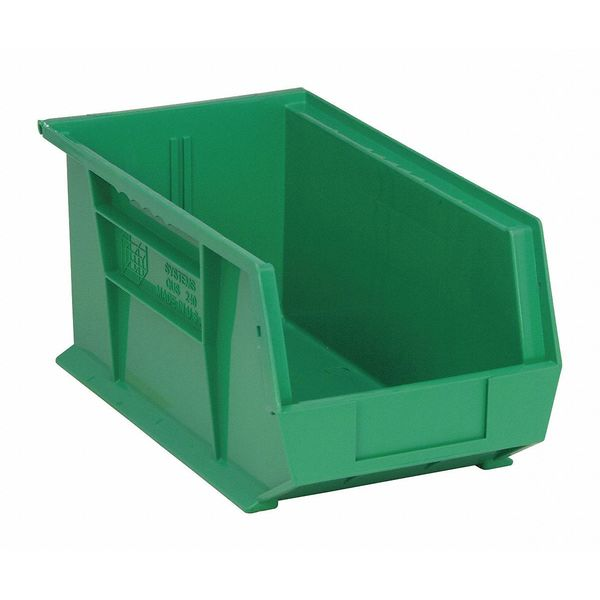 """Quantum Storage Systems Green Hang and Stack Bin,  14-3/4""""L x 8-1/4""""W x 7""""H,  Inside Length: 14 in QUS240GN"""