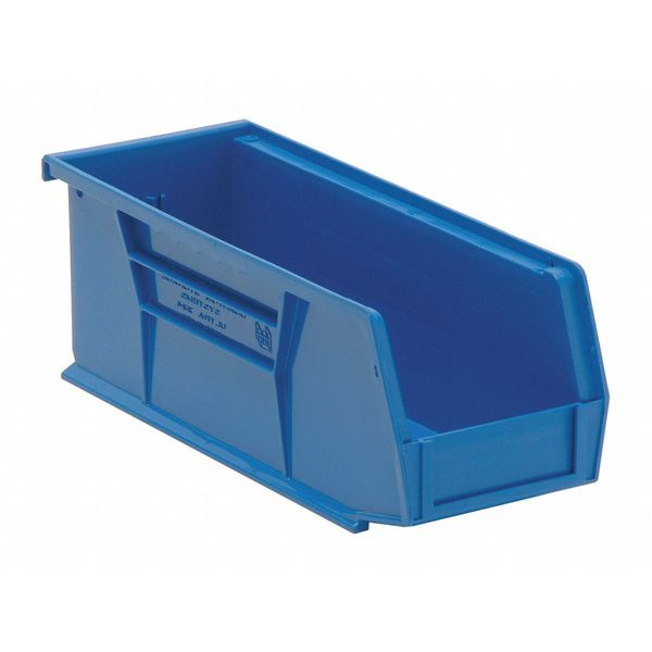 "Quantum Storage Systems Blue Hang and Stack Bin,  10-7/8""L x 4-1/8""W x 4""H QUS224BL"