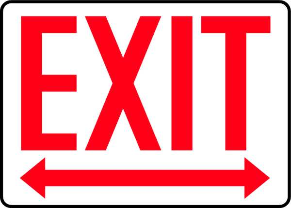 "Accuform Exit Sign,  English,  10"" W,  7"" H,  Vinyl,  White MADM630VS"