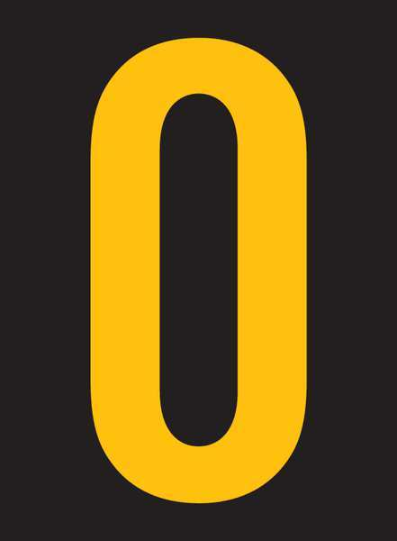 Stranco Inc Reflective Number Label, 0, 2-1/2in H, PK25 RUM200-0-YB