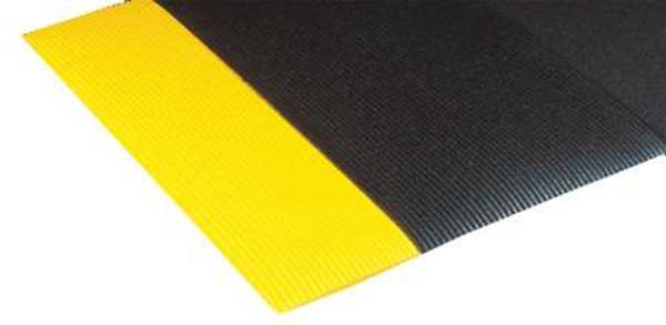 Notrax Black/Yellow Antifatigue Mat 3 ft W x 5 ft L,  1/2 in,  PVC 413S0035BY