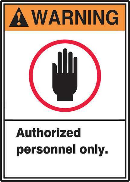 """Accuform Warning Sign, 14X10"""", ORN and BK/WHT MRDM300VS"""