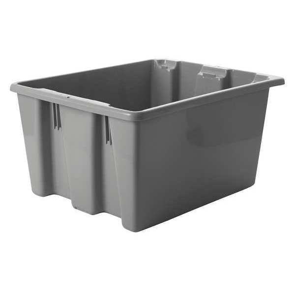 "Rubbermaid Gray Stack and Nest Bin,  19-1/2""L x 15-1/2""W x 10""H FG172100GRAY"