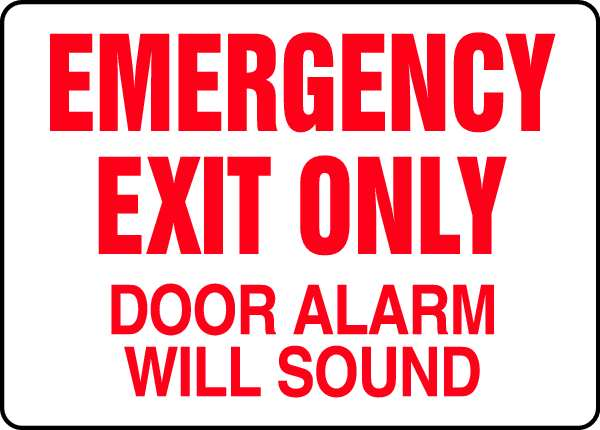 """Accuform Emergency Exit Sign,  English,  14"""" W,  10"""" H,  Plastic,  White MEXT932VP"""