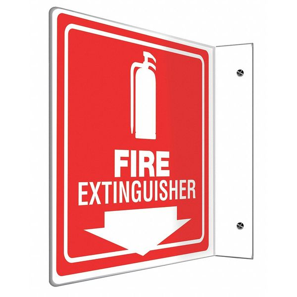 """Accuform Fire Extinguisher Sign, 8X8"""", WHT/R, PS PSP729"""