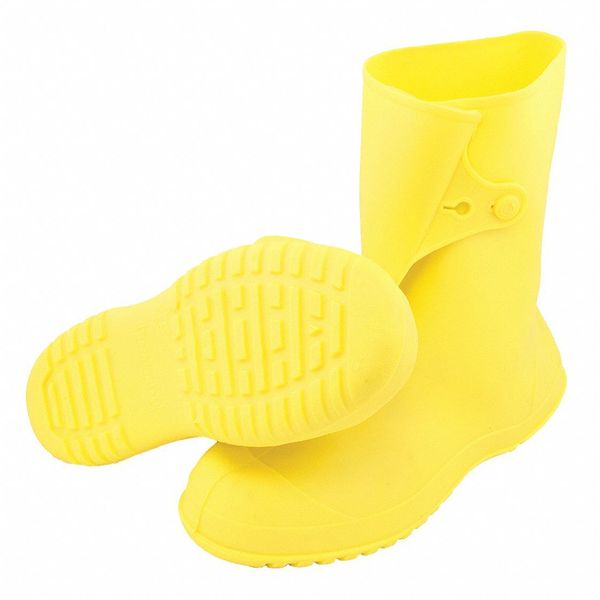 Tingley Workbrutes Overboots,  Mens,  L,  Button Tab,  Yellow,  PVC,  PR 35123