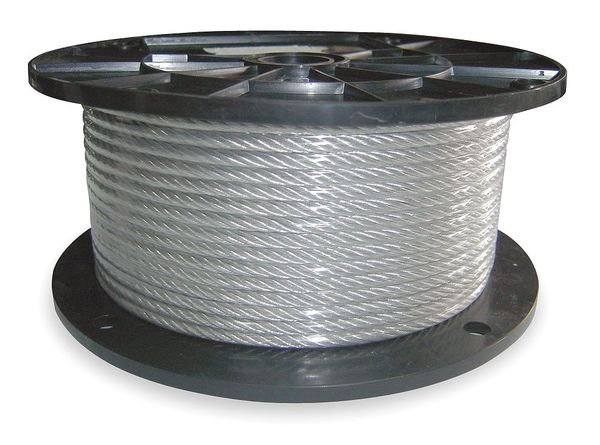 Dayton Cable, 1/8 In, L100Ft, WLL420Lb, 1x19, Steel 2RZY7