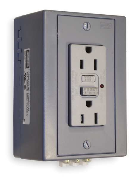 Hubbell Wiring Device-Kellems GFCI Receptacle, 15A, 125VAC, 5-15R, Gray DRUBGFI15