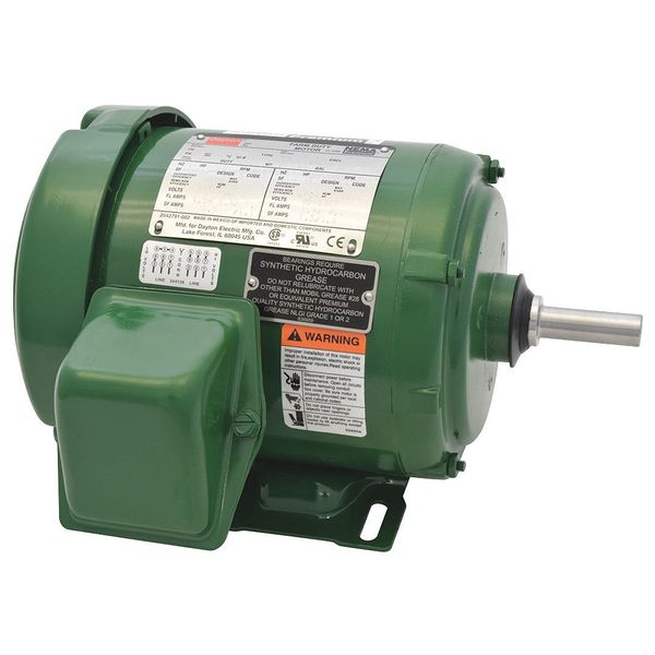 Dayton Farm Duty Mtr, 3 Ph, TEFC, 1/2 HP, 1765 RPM 1EJR4BG