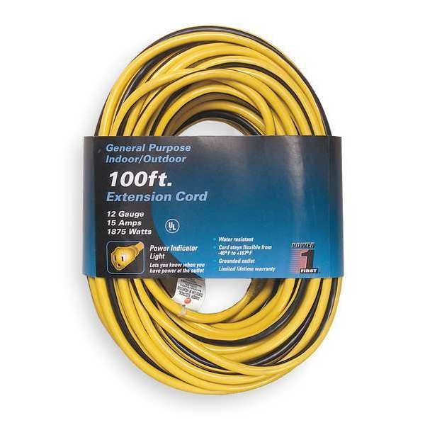 Power First 100 ft. 12/3 Lighted Extension Cord SJTW 1FD57