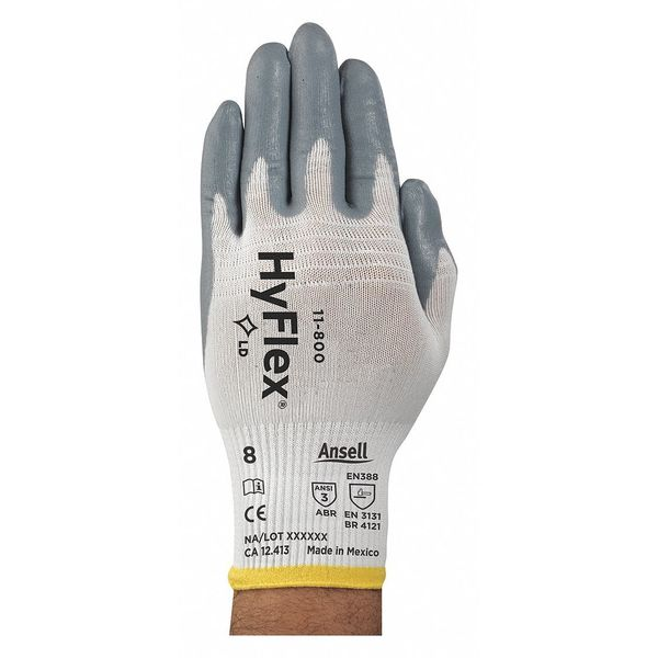 Ansell Hyflex Coated Gloves, Palm, XL, Gray/White, PR 11-800