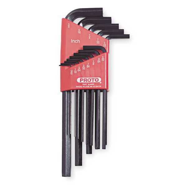 Proto 13 Pc. SAE L-Shaped Hex Key Set,  Arm Length: 2.80 in to 6.75 in J4983
