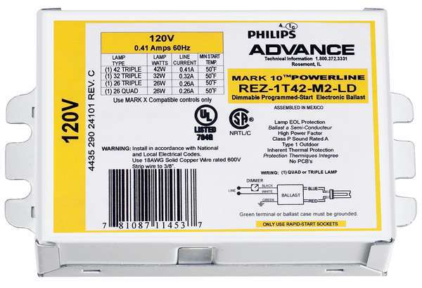 Philips Advance CFL Ballast, Electronic Dimming, 8W, 120V REZ-1T42-M2-LD-K