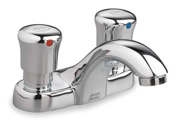 "American Standard Metering 4"" Mount,  Commercial 2 Hole Low Arc Bathroom Faucet 1340225.002"