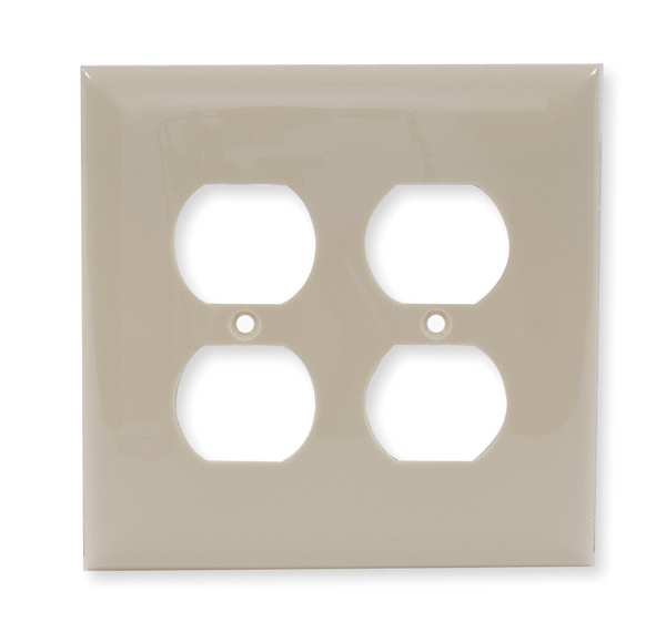 Hubbell Wiring Device-Kellems Duplex Wall Plate,  2 Gang,  Ivory,  Size: Mid Size NPJ82I