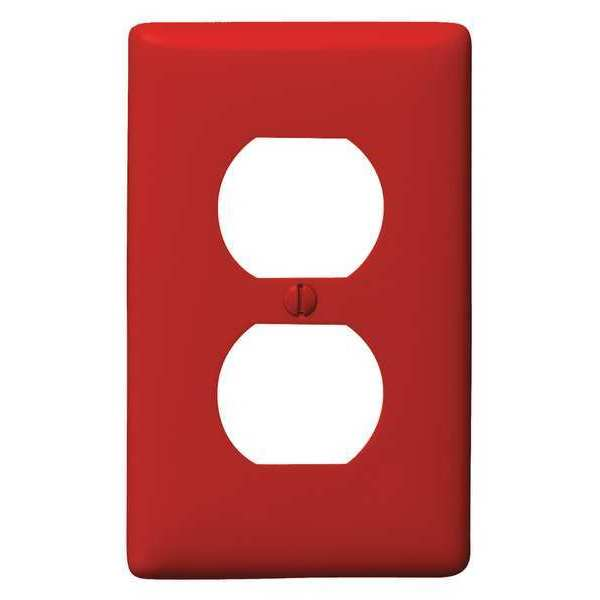 Hubbell Wiring Device-Kellems Duplex Wall Plate,  1 Gang,  Red,  Size: Standard NP8R