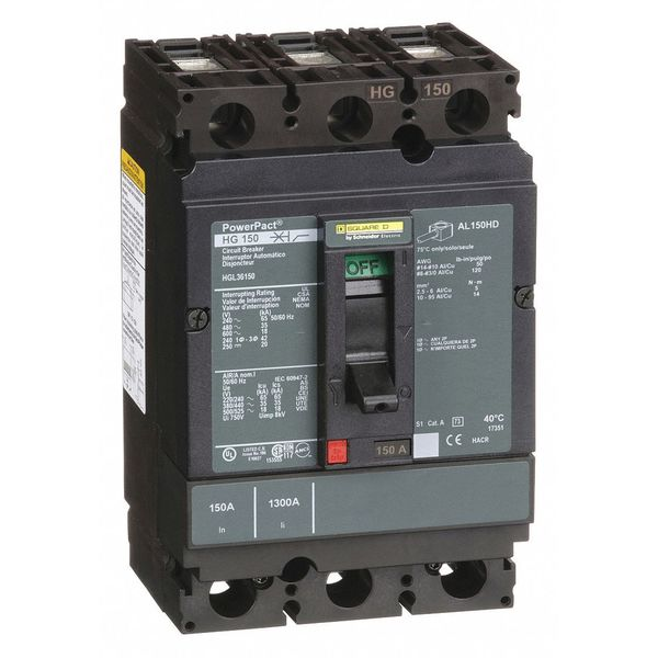Square D By Schneider Electric 150 A A Free Standing Standard Molded Case Circuit Breaker ,  600V AC HGL36150