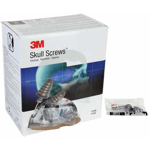 3M Skull Screws™ Uncorded Ear Plugs,  32dB Rated,  Tapered Shape,  PK 120 P1300