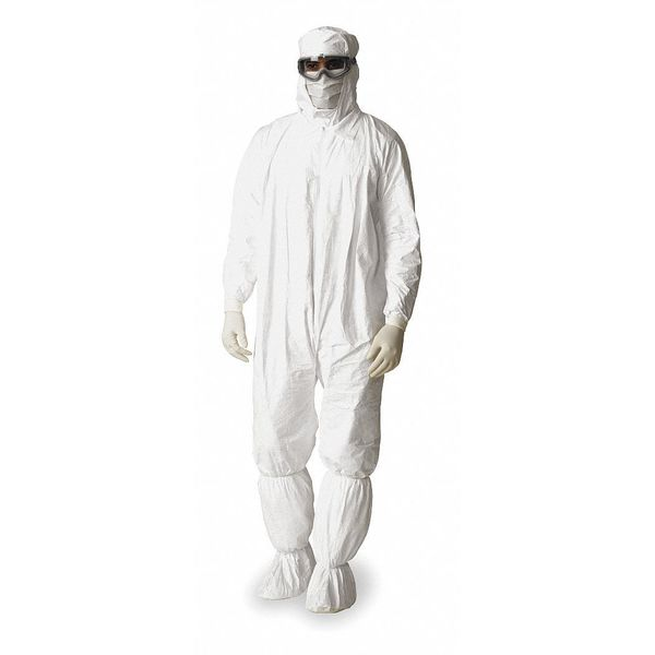 Dupont Hooded Disposable Coveralls ,  Xl ,  White ,  Tyvek(R) Isoclean(R) ,  IC180SWHXL002500