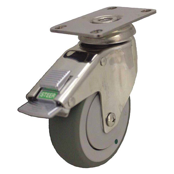 Zoro Select Swivel Plate Caster w/2-Position Directional Lock, 4 in. P14SX-RP040K-12-DL-AM