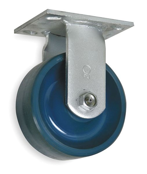 Zoro Select Rigid Plate Caster, Poly, 8 in., 1200 lb., B 1NWP7