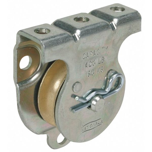 Zoro Select Wall/Ceiling Mount Pulley, Zinc 1RCT1