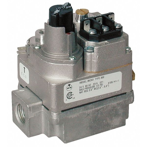 White-Rodgers Gas Valve,  NG/LP,  Standing Pilot,  24VAC,  2.5 to 5.0 in wc,  0.23 A 36C03-300
