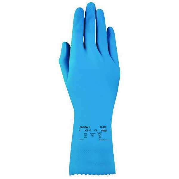 "Ansell 12"" Chemical Resistant Gloves,  Natural Rubber Latex,  10,  1 PR 88-356"
