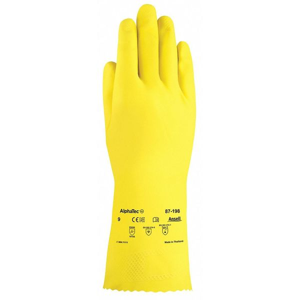 """Ansell 12"""" Chemical Resistant Gloves,  Natural Rubber Latex,  10,  1 PR 87-198"""