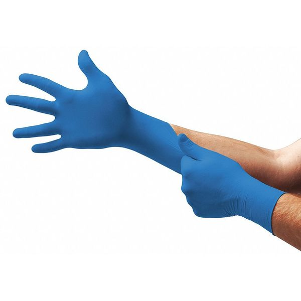 Ansell Disposable Gloves,  Powder Free,  Blue,  L,  100 PK 92-675