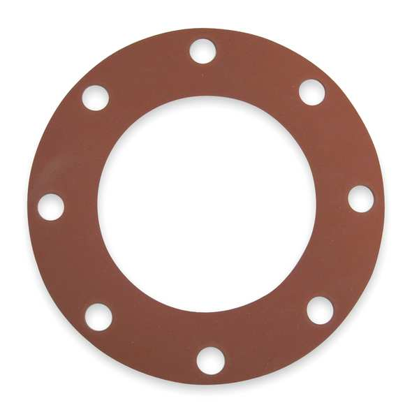 Zoro Select Gasket, Full Face, 6 In, SBR, Red 7124FF-0150-125-0600
