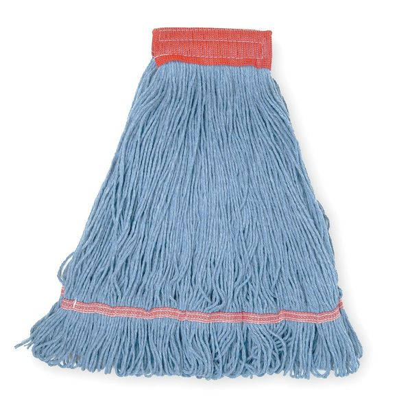 Tough Guy 4-Ply Antimicrobial Rayon Yarn Wet Mop,  Looped,  Blue,  Ply: 4 1TYX9