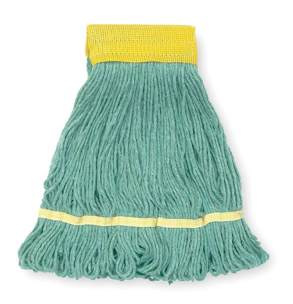 Tough Guy 4-Ply Antimicrobial Cotton Yarn Wet Mop,  Looped,  Green 1TYN8