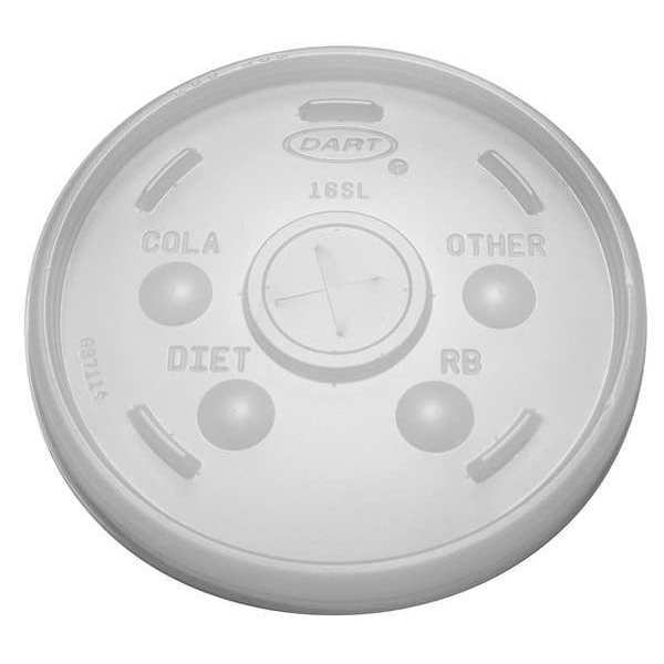 Dart Lid for 12 to 24 oz. Hot/Cold Cup,  Flat,  Identification Buttons,  Straw Slot,  Clear,  Pk1000 16SL