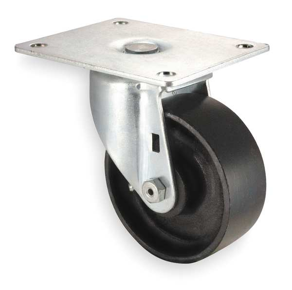 Zoro Select Swivel Plate Caster, Cast Iron, 4 in, 450 lb, D 1UKW9