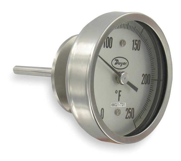 Dwyer Instruments Bimetal Thermom, 5 In Dial, -40 to 160F BT15S52541