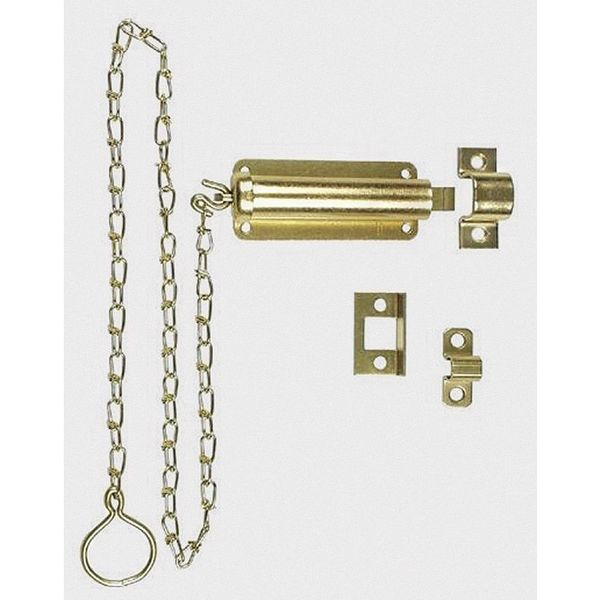 Zoro Select Spring Loaded Chain Bolts, Brass 1WAD8