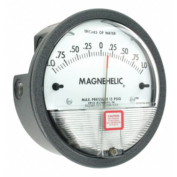 Dwyer Instruments Dwyer Magnehelic Pressure Gauge, 1 In to 0 to 1 In H2O 2302