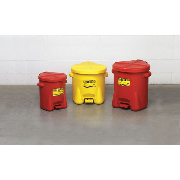 Safety Cans 10 Gallon Red Oily Waste Can SAFETY-EG-935-FL