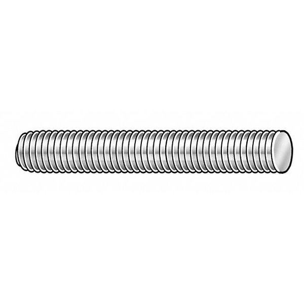 "Zoro Select 1-1/4""-8 x 6-1/4"" Plain Alloy Steel Fully Threaded Studs,  4 pk. 2AE16"